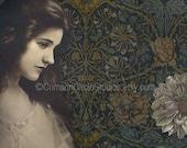 "Mini print 4x5 digital collage ""Dahlia"" vintage inspired portrait, floral, patterns"