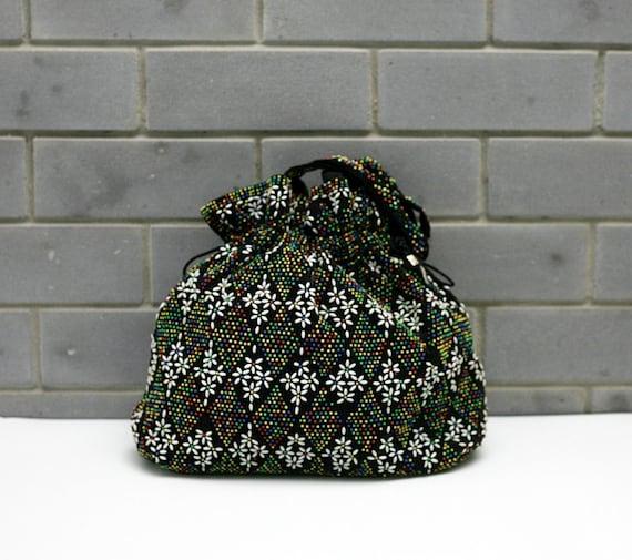 1970s vintage boho hippie beaded handbag tote purse