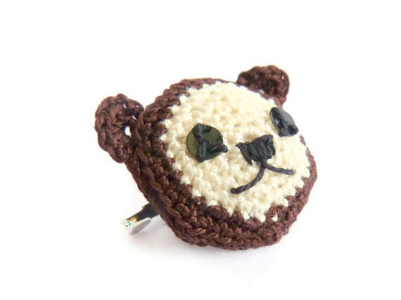 Tiny Bear Brooch Crochet Amigurumi Animal