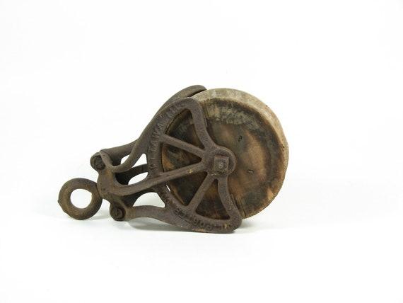 Vintage Barn Pulley Wood Wheel Cast Iron