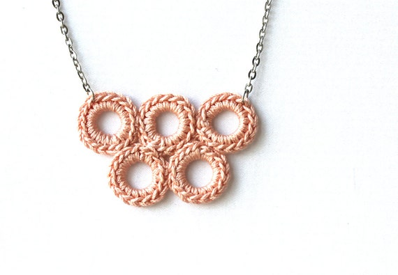 Crochet  jewelry blush peach necklace  Spring summer necklace