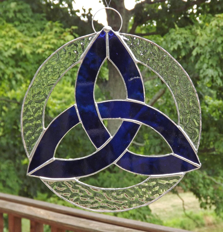 Irish Celtic Knot Trefoil Stained Glass Suncatcher Royal