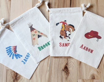 COWBOY and INDIAN -  Personalized Favor Bags - Set of 10 - Birthday