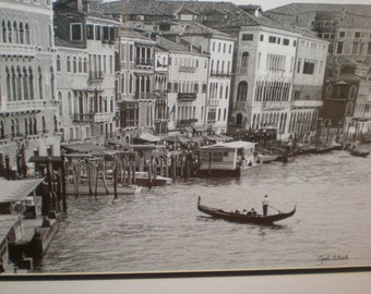 "Venice Photograph ""Cyndi Schick"" B&W Photograph Grand Canal Gondola Artist Signed And Framed 21 1/2 x 17 1/2 Inches"