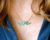 Love Birds Patina Necklace