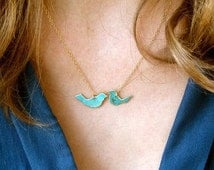 Love Birds Patina Necklace