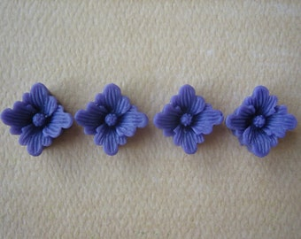 4PCS - Spring Collection - Purple - Buttercup Resin Flower Cabochons - 12mm - Matte Finish - Cabochons by ZARDENIA