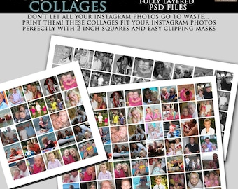 INSTANT DOWNLOAD - Instagram Collage Set- 12x12, 10x20 and 16x20 Collage Set- custom photo templates