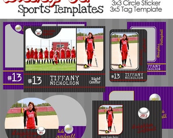 INSTANT DOWNLOAD - Bring It Sports Templates for Photographers- 8x10 Composite, Wallet, 3x5 Tag and 3x3 Circle Sticker