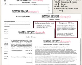 INSTANT DOWNLOAD- Professional Photography Forms-  Contract, Model Release, Photo Copyright Release, Order Form and Liability Waiver