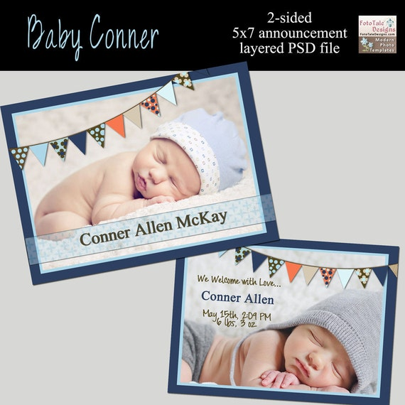 INSTANT DOWNLOAD - Baby Connor Baby/Birth Announcement- custom 5x7 photo template for photographers on WHCC and Pro Digital Photos Specs