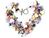 hearts & amethyst charm bracelet. copper wire wrapped beaded fringe purple beads heart charms stacking wrap charm uniquenecks bracelet