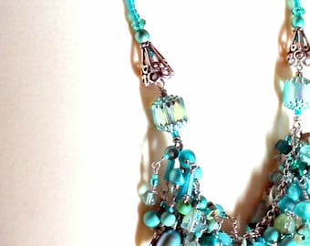 layered teal necklace. beaded turquoise fringe. wire wrapped jewelry by uniquenecks