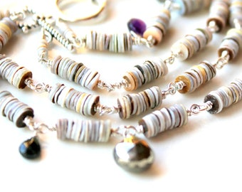 Sterling ANKLET or BRACELET stacking shell pyrite bracelet / bridesmaid gift / wire wrapped seashells / fools gold / faceted birthstones