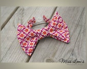 Baby Boy Bow Tie, Double Stacked Classic Bowtie, Retro Red Pattern, LIMITED EDITION, Newborn Baby Boy Photo Prop