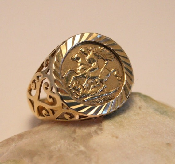 vintage sovereign ring gold on sterling by