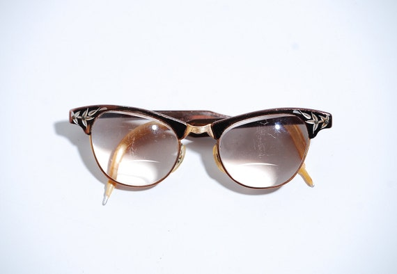 Vintage 1950s Eyeglasses - 50s Cats Eye Glasses - Shiny Copper