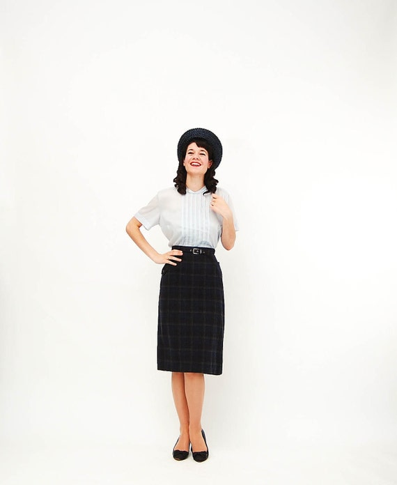 Vintage 1960s Pencil Skirt - 60s Wool Skirt - Charcoal Grey Plaid