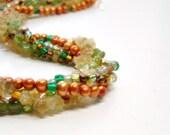 Woodland Necklace, Multistrand, Mixed Gemstone, Peridot, Citrine, Freshwater Pearls, Orange, Green, Summer, Fall, Mixed Media TT Team