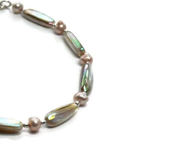 Shimmering Mother of Pearl Anklet, Blush Pink Freshwater Pearls, Summer, Beach,