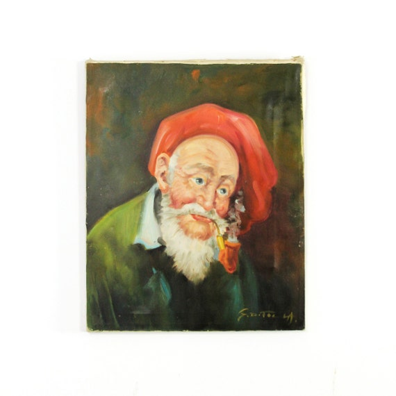 vintage old irish man oil portrait