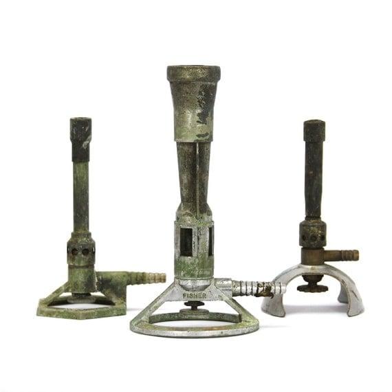 set of three vintage school laboratory bunsen burners