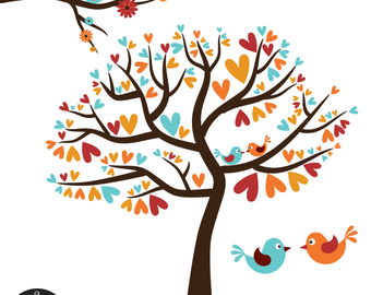Love Birds on the Heart Tree Silhouette in White Digital