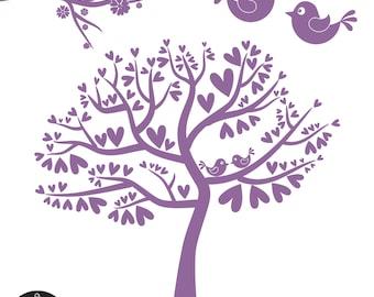 Love Birds in Lilac - Digital Clip Art
