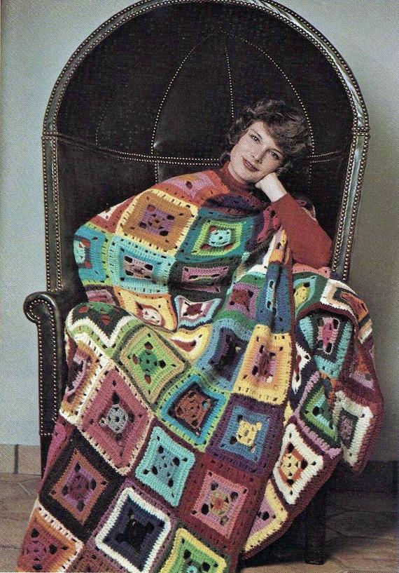 Vintage Crochet Pattern PDF Granny Square Bright Flamboyant Afghan Blanket Retro
