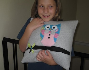 Gray Owl Fleece Pillow Cover with Appliqued Owl on Branch in Teal Blue/Pink/Grey-Baby Girl Nursery Decor-Child to Teen Pillow-Owl Collector