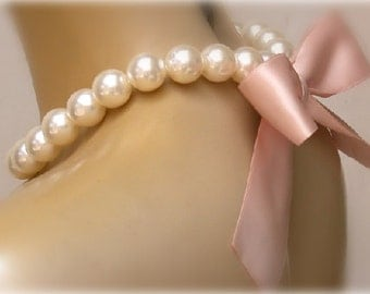 Bridal Pearl And Nude Color  Satin Ribbon Necklace- Perfect for Bride, Wedding, Bridesmaids And Formal
