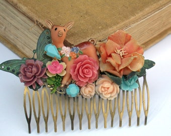 Wonders Of The Forest Sweet Vintage Wedding Hair Comb , Maid Of Honor, Bridesmaids Gifts Something Old Something Blue
