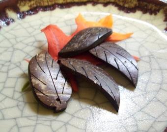 Coconut Shell Leaf Pendants - Autumn Leaf Pendants - 50mm x 20mm - 4 leaves