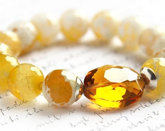 Boho Jewelry Gemstone Bracelet Yellow Crab Agate Bracelet Golden Honey Crystal Sterling Silver Bright Yellow Stacking Bracelet.