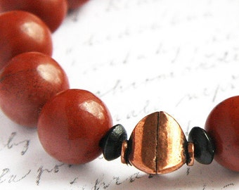 Bohemian Jewelry, Red Jasper Stone Bracelet. Solid Copper Beads. Natural Stone. Earth Red Boho. Made in Canada by KapKaDesign