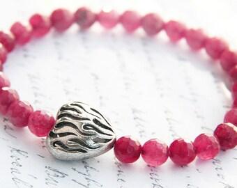 Summer Party Ruby Bracelet Round Cut AAA Grade Genuine Ruby Gemstones Fine Faceted Ruby Silver Heart Stacking Bracelet Feminine Ruby Pink