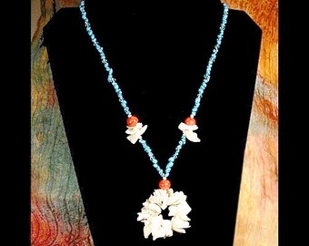 Turquoise Necklace, Red Coral Beads, White Shell Ocean Flower Pendant, Bold Necklace, Statement Necklace, Bohemian Necklace, Unique Jewelry