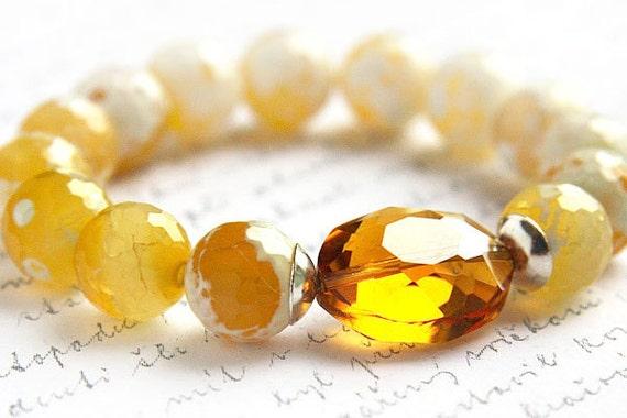 Gemstone Bracelet, Yellow Crab Agate Bracelet. Golden Honey Crystal. Sterling Silver. Lemon Yellow. Bright Yellow. Stacking Bracelet.