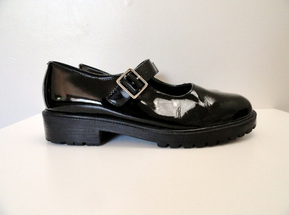 90s Black Patent Leather Mary Jane Platforms Size 6.5