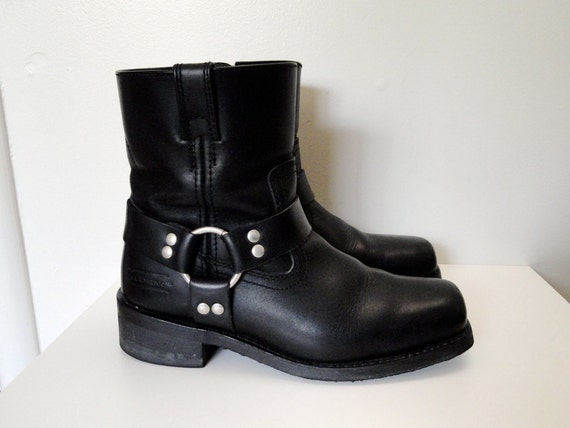 90s Black Leather Harness Biker Boots Size 9