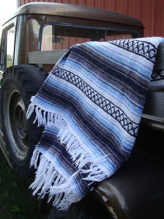 Vintage Retro Hippie Blanket Multi Colors Blue Gray White Black