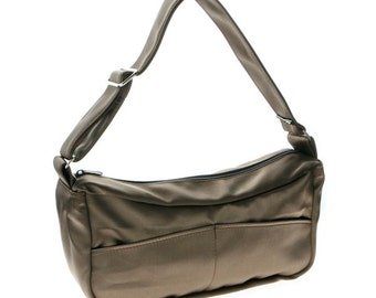 Brown, satin, hobo,Slouch bag, for women,-Emma in bronze