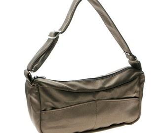 Brown, satin, hobo,Slouch bag, for women,-Emma in bronze