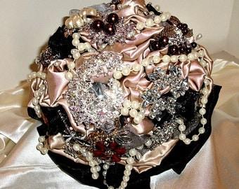 weddimg brooch bouquet in Black, taupe, brooch bridal bouquet in camo wedding bouquet wedding brooch bouquet