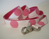 Pink Polka Dot Dog Leash Lead, Custom Leash, Custom Lead, 5 foot, Pink Polka Dot Leash