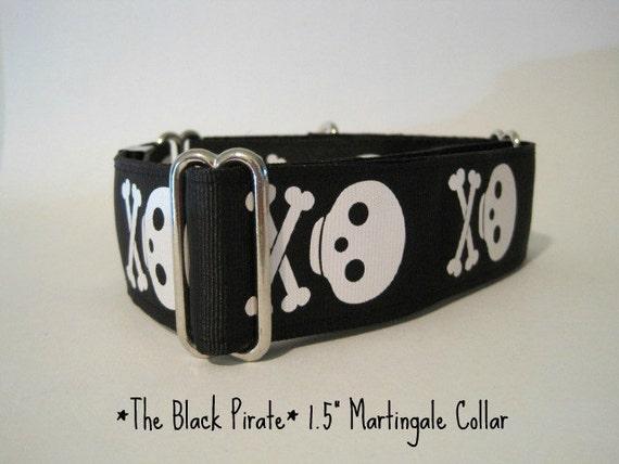 "Skull Martingale Collar, 1.5"" Martingale Collars, Skull and Cross Bones, Black and White, Skull Dog Collar, Martingale Dog Collar"