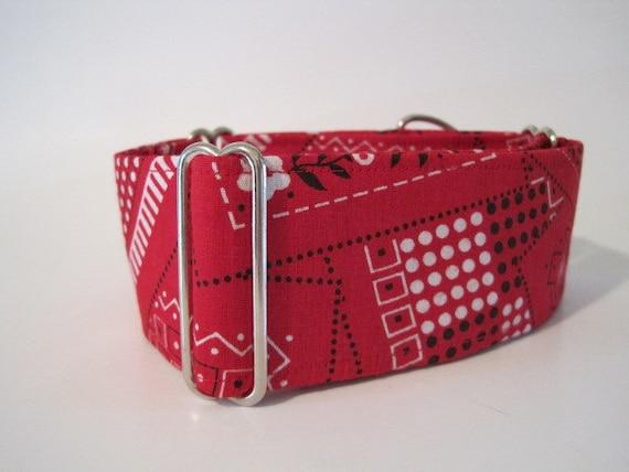 Red Martingale Collar, Bandana, Cowboy, Dog Collar, Black, Greyhound Collar, Adjustable