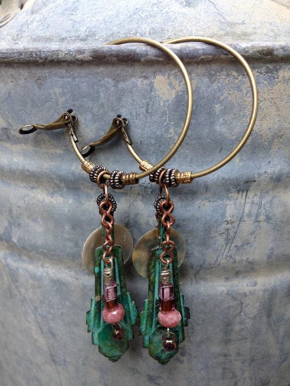 EARRINGS hand beaded,patina art deco pendant, abalone shell, hoops, free people style, boho, lightweight by Zasra