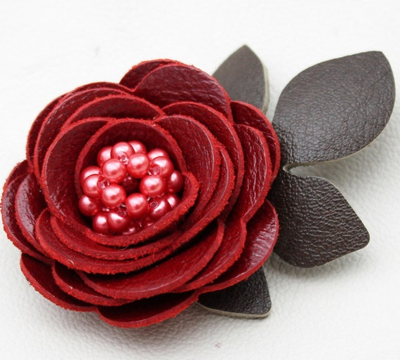 Red flower hair clip fascinator, leather rose, green leaves, glass pearls. Woodland wedding, 3 year anniversary gift prom wearable art
