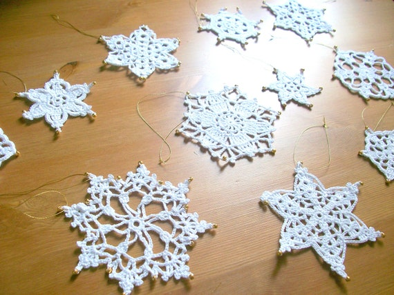 Crochet Beaded Snowflakes,11 snowflakes,Christmas Decorations,White, 100% Cotton..by Arzu